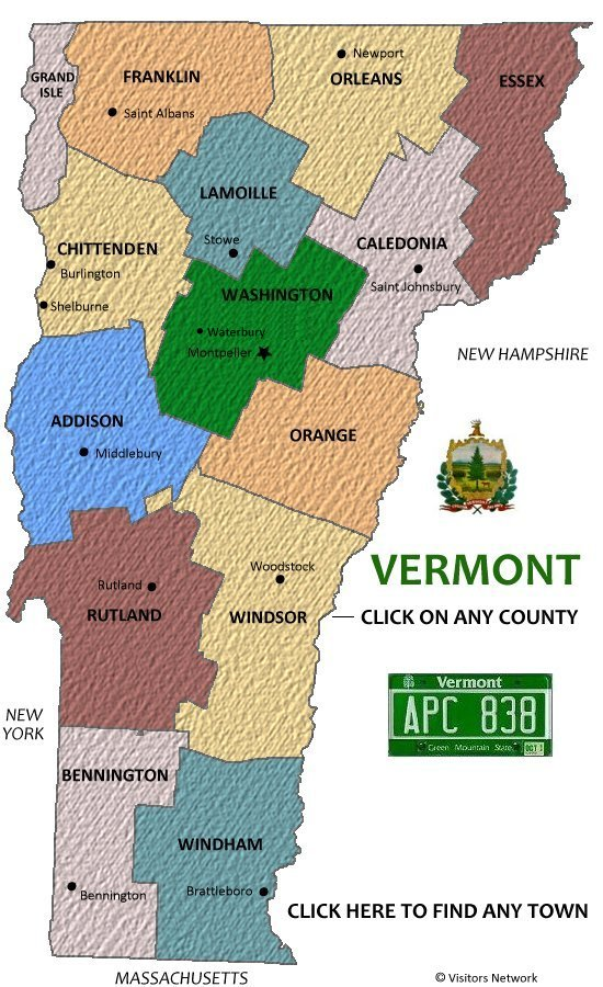 Vermont Vacations Travel and Tourism – Vermont Tourist Attractions Map